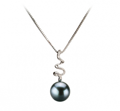 6-7mm AA Quality Japanese Akoya Cultured Pearl Pendant in Greta Black