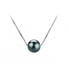 7-8mm AAA Quality Japanese Akoya Cultured Pearl Pendant in Kristine Black