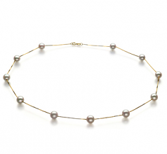 6-7mm AA Quality Japanese Akoya Cultured Pearl Necklace in Tin Cup White