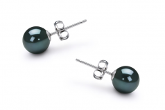 6-7mm AA Quality Japanese Akoya Cultured Pearl Earring Pair in Black
