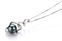 8-9mm AAA Quality Japanese Akoya Cultured Pearl Pendant in Eldova Black