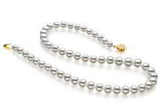6-9mm Hanadama - AAAA Quality Japanese Akoya Cultured Pearl Necklace in Hanadama 16-inch White