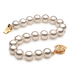 7.5-8mm Hanadama - AAAA Quality Japanese Akoya Cultured Pearl Bracelet in Hanadama 7.5-inch White