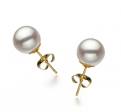 8.5-9mm Hanadama - AAAA Quality Japanese Akoya Cultured Pearl Earring Pair in Hanadama White