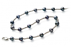6-7mm A Quality Freshwater Cultured Pearl Necklace in Atina Black
