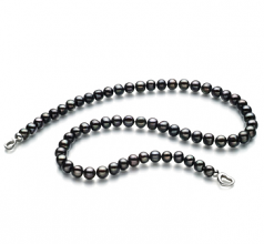 8-9mm A Quality Freshwater Cultured Pearl Necklace in Sinead Black