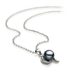 9-10mm AA Quality Freshwater Cultured Pearl Pendant in Leeza Black