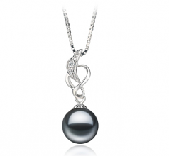 9-10mm AA Quality Freshwater Cultured Pearl Pendant in Naomi Black
