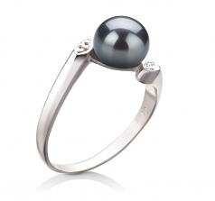 6-7mm AAA Quality Freshwater Cultured Pearl Ring in Dana Black