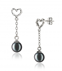 6-7mm AAAA Quality Freshwater Cultured Pearl Earring Pair in Hedda Black