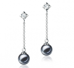 6-7mm AAAA Quality Freshwater Cultured Pearl Earring Pair in Ingrid Black