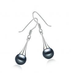 7-8mm AAAA Quality Freshwater Cultured Pearl Earring Pair in Sandra Black