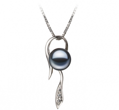 7-8mm AAAA Quality Freshwater Cultured Pearl Pendant in Jennifer Black