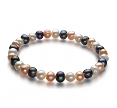 6-7mm A Quality Freshwater Cultured Pearl Bracelet in Bliss Multicolour