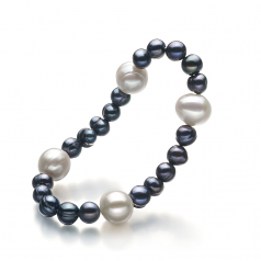 6-11mm A Quality Freshwater Cultured Pearl Bracelet in Irina Black