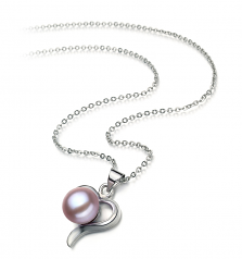 9-10mm AA Quality Freshwater Cultured Pearl Pendant in Leeza Lavender