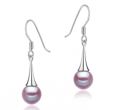 7-8mm AAAA Quality Freshwater Cultured Pearl Earring Pair in Sandra Lavender