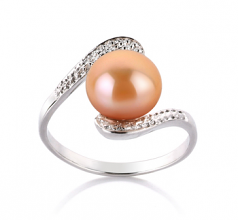 9-10mm AA Quality Freshwater Cultured Pearl Ring in Chantel Pink