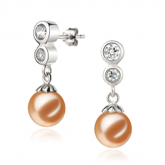 7-8mm AAAA Quality Freshwater Cultured Pearl Earring Pair in Colleen Pink