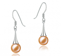 7-8mm AAAA Quality Freshwater Cultured Pearl Earring Pair in Sandra Pink