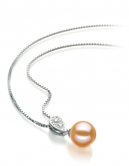 7-8mm AAAA Quality Freshwater Cultured Pearl Pendant in Daria Pink