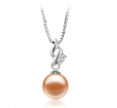 7-8mm AAAA Quality Freshwater Cultured Pearl Pendant in Zalina Pink