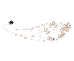 3-9mm A Quality Freshwater Cultured Pearl Necklace in Mary White