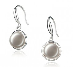 9-10mm AA Quality Freshwater Cultured Pearl Earring Pair in Holly White