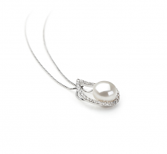 9-10mm AA Quality Freshwater Cultured Pearl Pendant in Isabella White