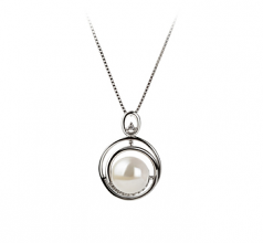 9-10mm AA Quality Freshwater Cultured Pearl Pendant in Kelly White