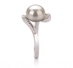 9-10mm AA Quality Freshwater Cultured Pearl Ring in Chantel White