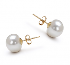 10-10.5mm AAA Quality Freshwater Cultured Pearl Earring Pair in White