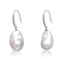 12-13mm AA+ Quality Freshwater - Edison Cultured Pearl Earring Pair in White