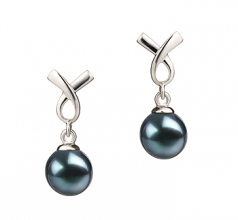 6-7mm AA Quality Japanese Akoya Cultured Pearl Earring Pair in Riley Black