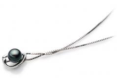 6-7mm AA Quality Japanese Akoya Cultured Pearl Pendant in Amanda Black