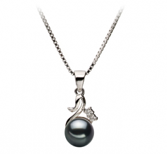 6-7mm AA Quality Japanese Akoya Cultured Pearl Pendant in Ariana Black