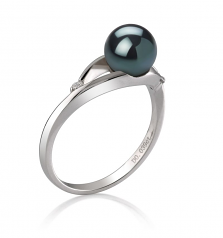 6-7mm AA Quality Japanese Akoya Cultured Pearl Ring in Tanya Black