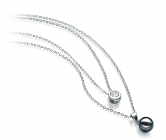 7-8mm AA Quality Japanese Akoya Cultured Pearl Necklace in Ramona Black