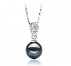 7-8mm AA Quality Japanese Akoya Cultured Pearl Pendant in Daria Black