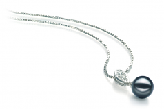 7-8mm AA Quality Japanese Akoya Cultured Pearl Pendant in Daria Black