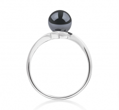 6-7mm AAA Quality Japanese Akoya Cultured Pearl Ring in Daron Black