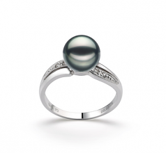 7-8mm AAA Quality Japanese Akoya Cultured Pearl Ring in Caroline Black