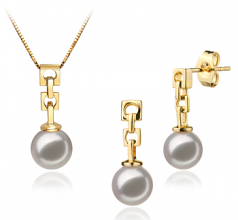 6-7mm AA Quality Japanese Akoya Cultured Pearl Set in Anya White
