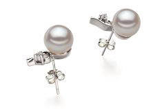 7-8mm AA Quality Japanese Akoya Cultured Pearl Earring Pair in Melissa White