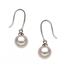 7-8mm AA Quality Japanese Akoya Cultured Pearl Earring Pair in Yoko White