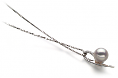 7-8mm AA Quality Japanese Akoya Cultured Pearl Pendant in Destina White