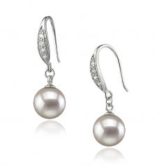 8-9mm AA Quality Japanese Akoya Cultured Pearl Earring Pair in Jacy White
