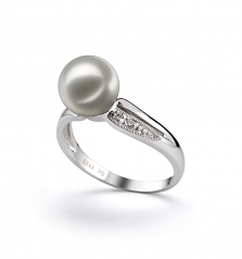7-8mm AAA Quality Japanese Akoya Cultured Pearl Ring in Caroline White