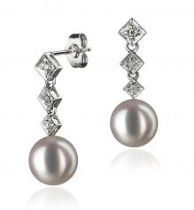 8-9mm AAA Quality Japanese Akoya Cultured Pearl Earring Pair in Rozene White