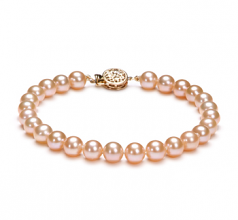 6-6.5mm AAAA Quality Freshwater Cultured Pearl Bracelet in Pink